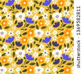 seamless pattern with flowers ... | Shutterstock .eps vector #1369582811