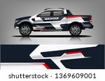 truck and car decal design... | Shutterstock .eps vector #1369609001