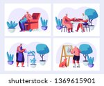 set of elderly characters... | Shutterstock .eps vector #1369615901