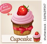 strawberry cupcake dessert icon.... | Shutterstock .eps vector #1369639547