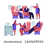 airplane crew and passenger... | Shutterstock .eps vector #1369639934