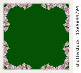 pretty scarf floral print. folk ... | Shutterstock .eps vector #1369644794