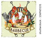 bbq grill logo design  ... | Shutterstock .eps vector #136965131
