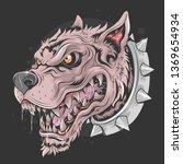 dog beast face wild punk... | Shutterstock .eps vector #1369654934