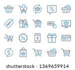 shopping line icons. gift box ... | Shutterstock .eps vector #1369659914