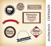 retro labels   quality... | Shutterstock .eps vector #136966634