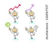 hand drawing cartoon characters ... | Shutterstock .eps vector #136967537