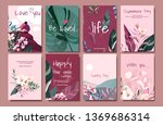 pink vector card with... | Shutterstock .eps vector #1369686314