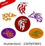 set abstract vector tattoo of a ... | Shutterstock .eps vector #1369693841