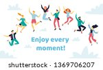 set of happy jumping people in... | Shutterstock .eps vector #1369706207