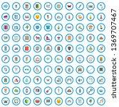 100 teaching icons set. cartoon ... | Shutterstock .eps vector #1369707467
