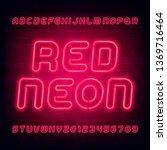 red neon alphabet font. light...   Shutterstock .eps vector #1369716464