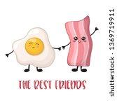 cartoon kawaii food    bacon... | Shutterstock .eps vector #1369719911