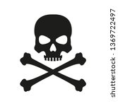 Skull With Crossed Bones Icon....