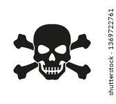 Skull With Crossed Bones Icon....
