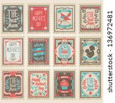 vector postage stamps set.... | Shutterstock .eps vector #136972481