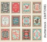 vector postage stamps set.... | Shutterstock .eps vector #136972481