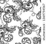 seamless pattern with golden... | Shutterstock . vector #1369754567