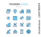 tourism icons. vector line... | Shutterstock .eps vector #1369780094