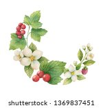 watercolor hand painted wreath... | Shutterstock . vector #1369837451