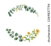 watercolor hand painted wreath... | Shutterstock . vector #1369837754