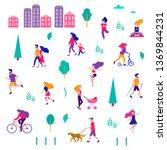 different activities of people... | Shutterstock .eps vector #1369844231