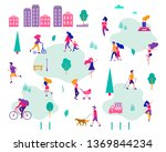 different activities of people... | Shutterstock .eps vector #1369844234