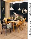 vertical dining room interior ... | Shutterstock . vector #1369845524