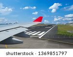 view from airplane with wing on ... | Shutterstock . vector #1369851797