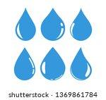 set blue water drop icons....   Shutterstock .eps vector #1369861784