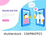 online doctor flat vector... | Shutterstock .eps vector #1369865921