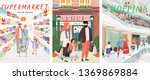 family shopping. a vector... | Shutterstock .eps vector #1369869884