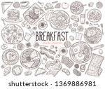 set of doodle breakfast food... | Shutterstock .eps vector #1369886981