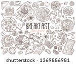 set of doodle breakfast food... | Shutterstock .eps vector #1369886981