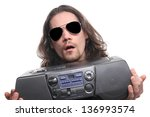 men with sunglasses and radio | Shutterstock . vector #136993574