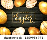 gold lettering happy easter... | Shutterstock . vector #1369956791
