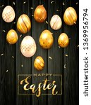 golden lettering happy easter... | Shutterstock . vector #1369956794