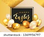 golden lettering happy easter... | Shutterstock . vector #1369956797