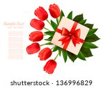 holiday background with bouquet ... | Shutterstock .eps vector #136996829