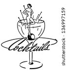 cocktails banner   retro clip... | Shutterstock .eps vector #136997159