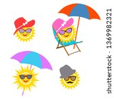 illustration set sun. graphic... | Shutterstock .eps vector #1369982321