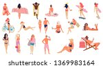people at beach. set of people...   Shutterstock .eps vector #1369983164