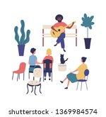 street musician or guitarist...   Shutterstock .eps vector #1369984574