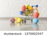 chicken eggs in a mini shopping ... | Shutterstock . vector #1370002547