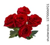 Stock photo bouquet of red roses isolated on white background 1370006921