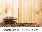 closeup of raw lentil grains in ... | Shutterstock . vector #1370015921
