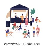 outdoor cafe and cute funny... | Shutterstock .eps vector #1370034701