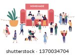 kiosk or stall with tasty... | Shutterstock .eps vector #1370034704