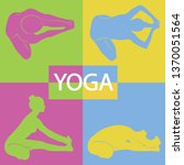 yoga girl colored icons with... | Shutterstock .eps vector #1370051564