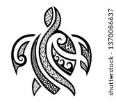 polynesian tattoo turtle... | Shutterstock .eps vector #1370086637